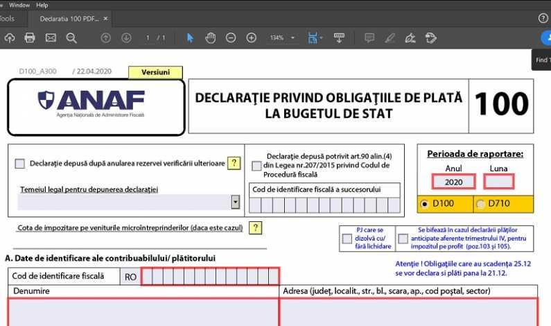 declaratia 100 pdf inteligent bonificatii impozit firme